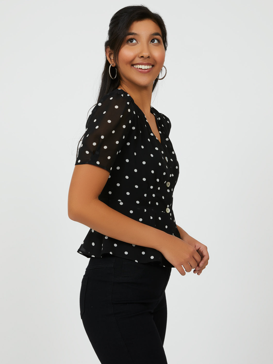 Polka Dot Peasant Blouse
