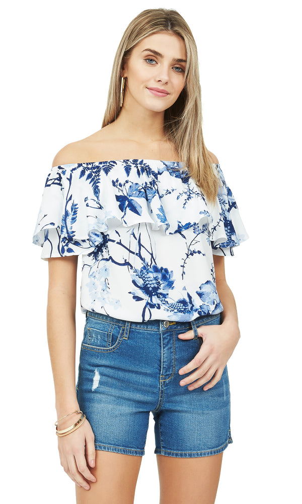 Printed Off-The-Shoulder Peasant Top