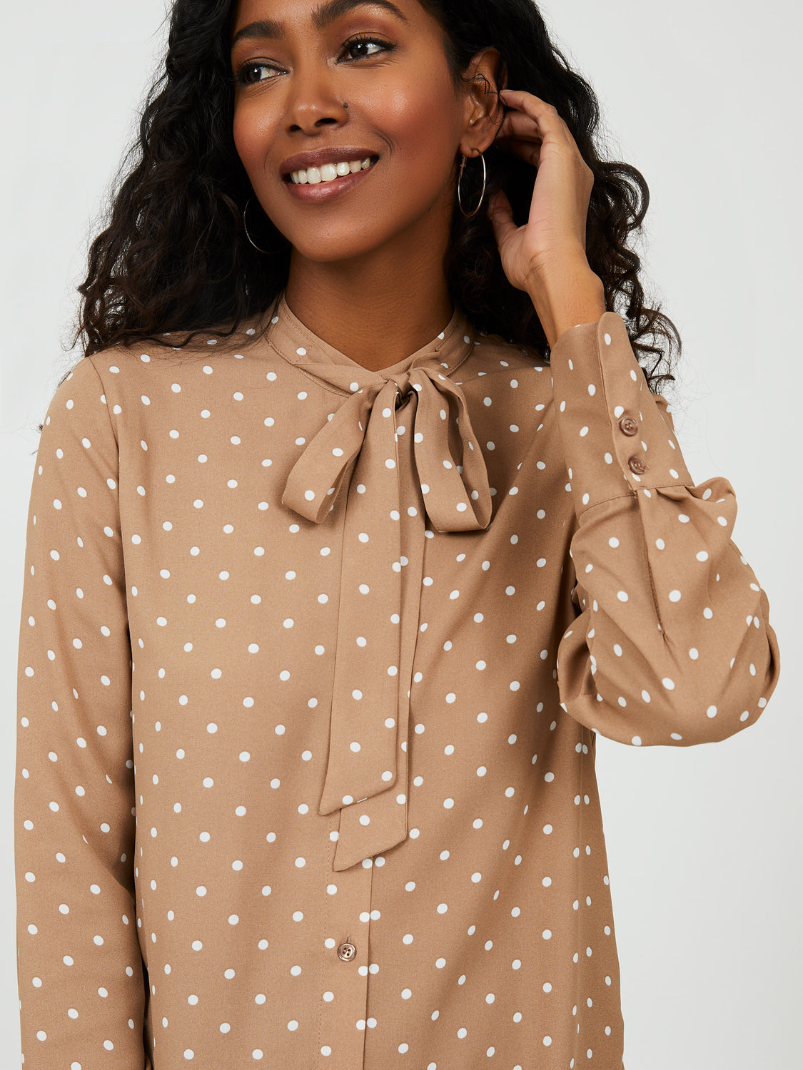 Button Down Blouse with Neck Tie