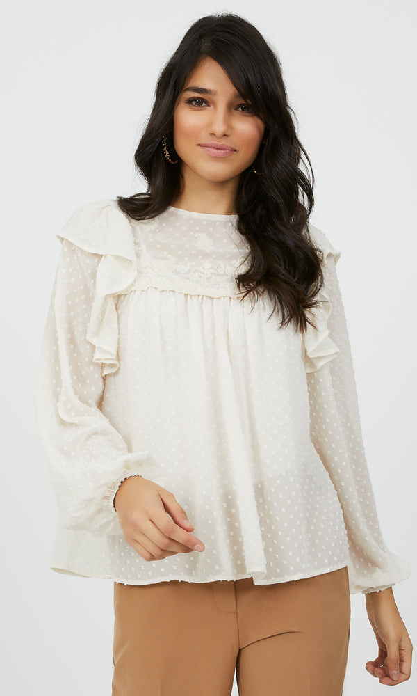 Embroidered Swiss Dot Chiffon Peasant Blouse