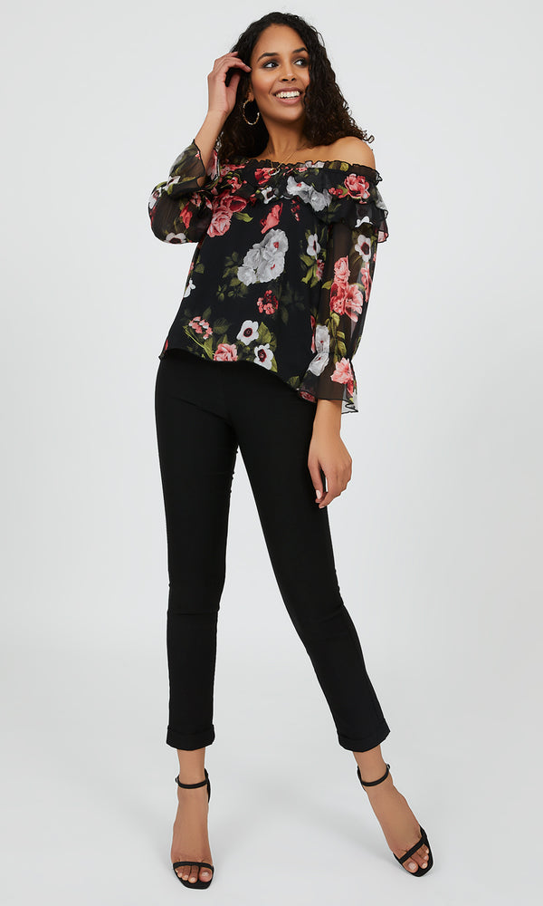 Floral Off-The-Shoulder Flare Sleeve Blouse
