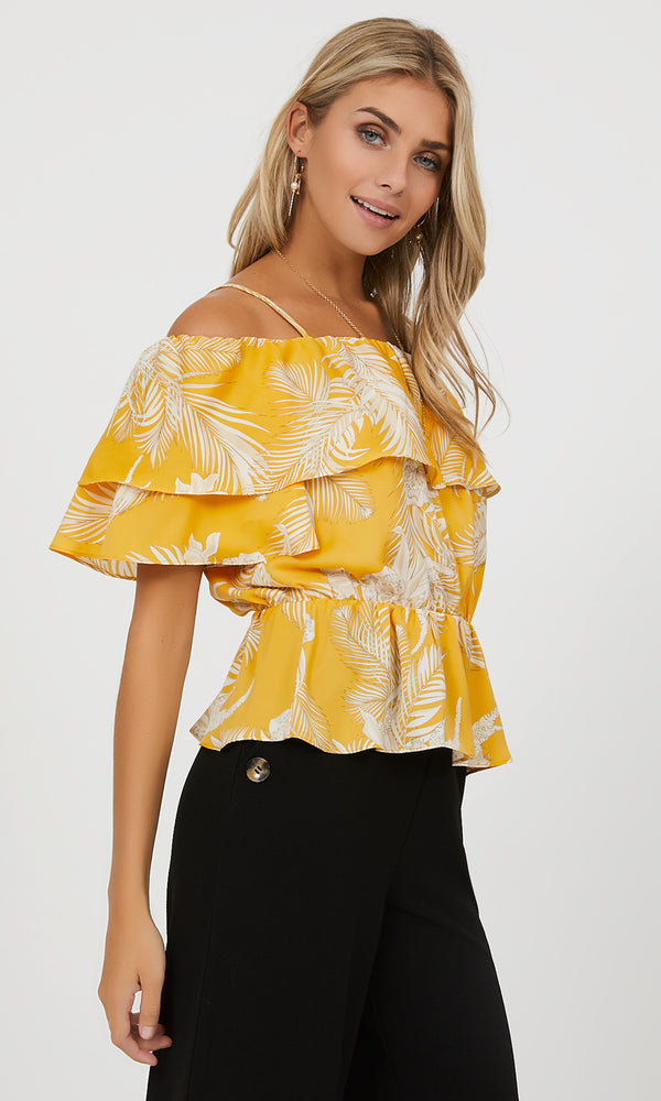 Printed Off-The-Shoulder Flounce Top