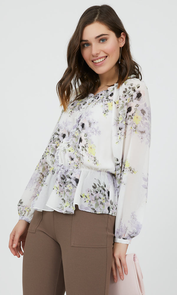 Peplum Floral Top with Ruffles