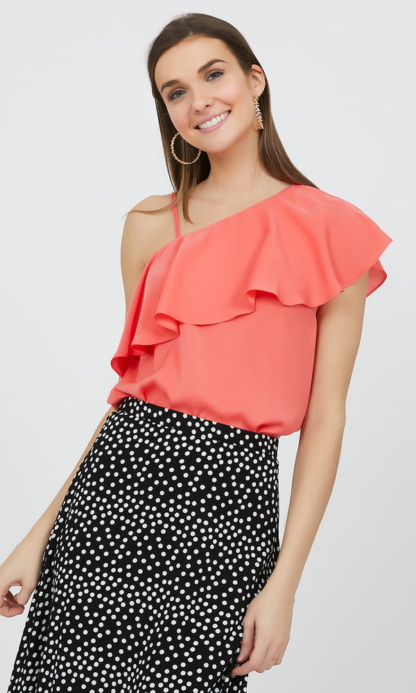 Satin One-Shoulder Ruffle Top