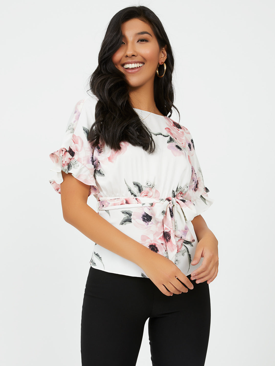 Ruffle Sleeve Floral Satin Blouse