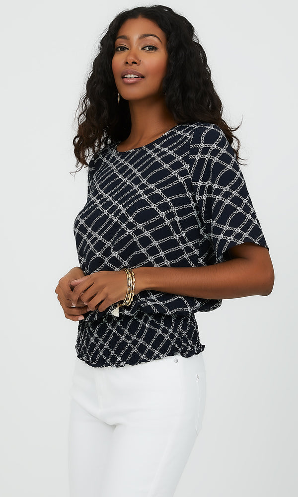 Short Sleeve Smocked Waist Printed Top