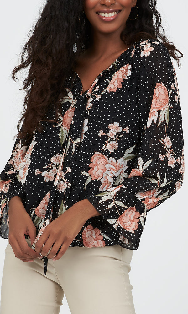 ¾ Sleeve Floral Smocked Neckline Top