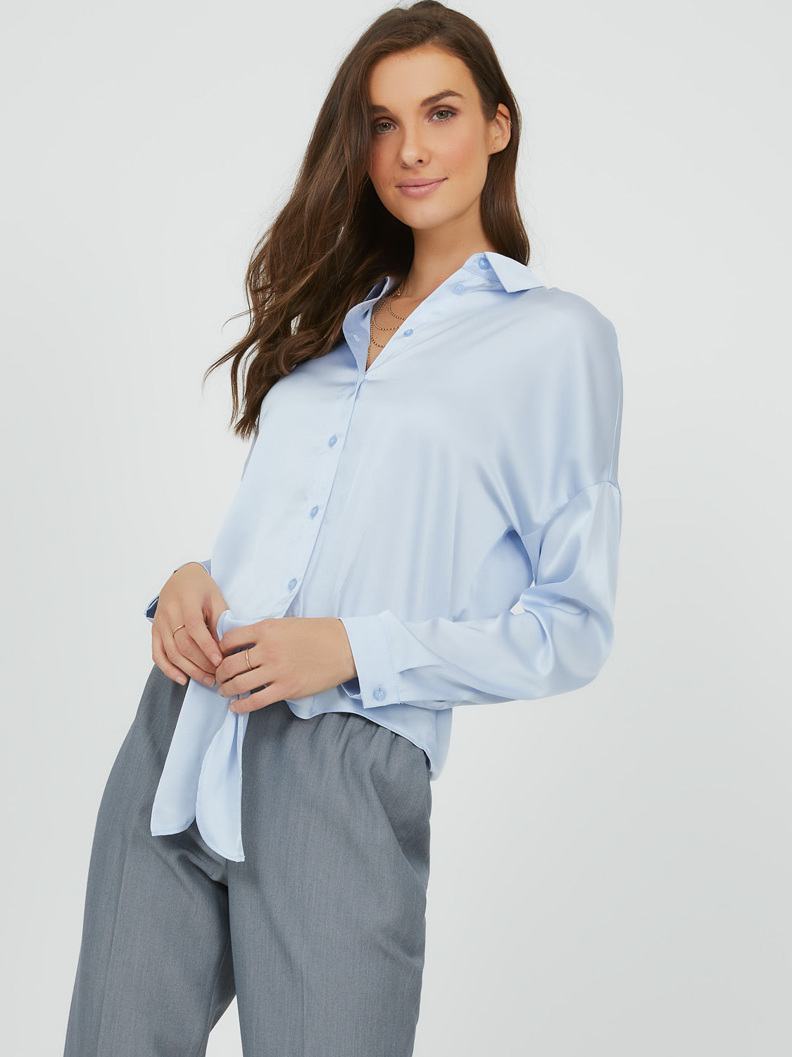Tie-Hem Satin Button-Down Blouse
