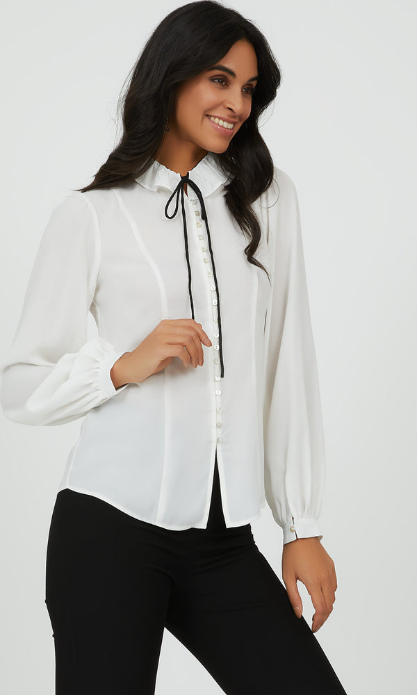 Ruffled Tie Neck Button-Down Blouse