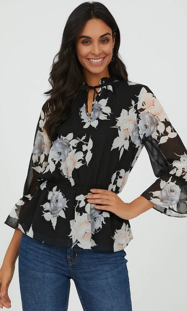 ¾ Flared Sleeve Floral Peplum Blouse