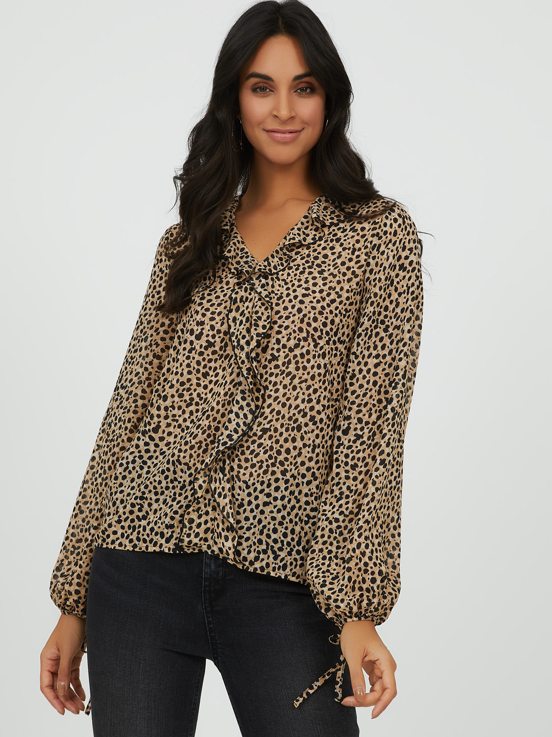Printed Ruffle Popover V-Neck Top