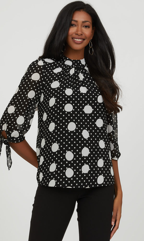 3/4 Sheer Sleeve Polka Dot Blouse