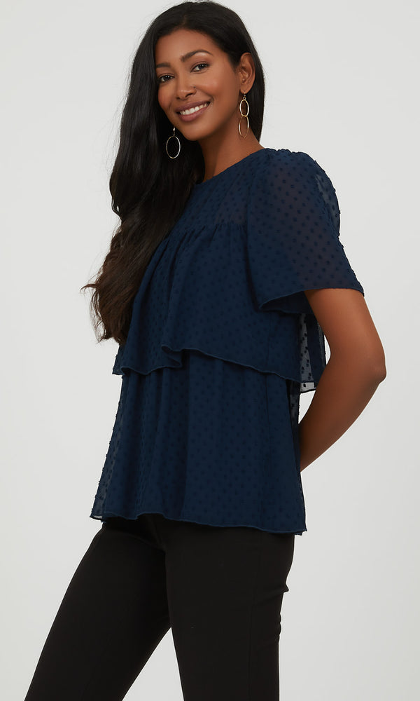 Sheer Textured Swiss Dot Tiered Blouse