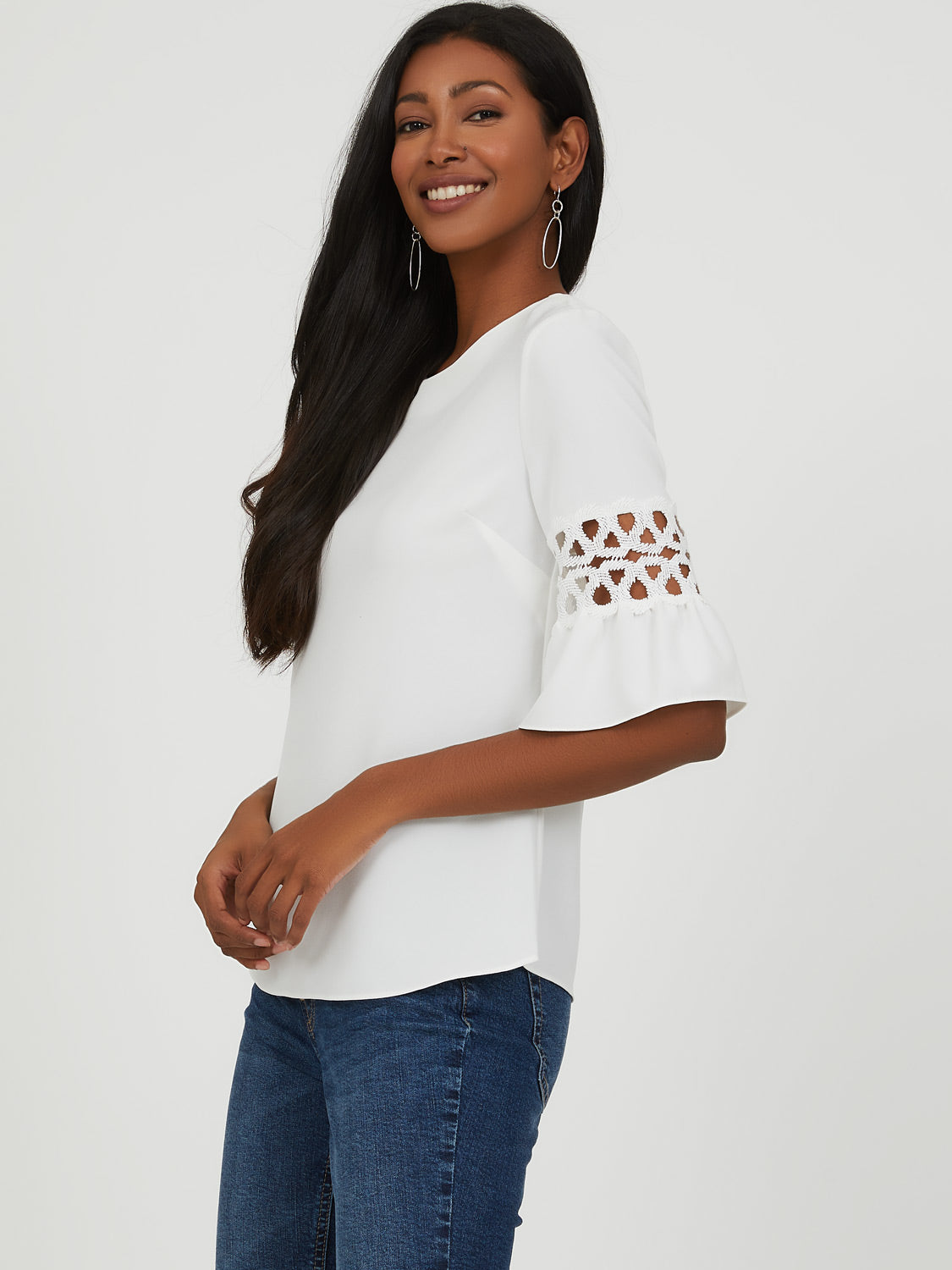 ¾ Crochet Sleeve Top