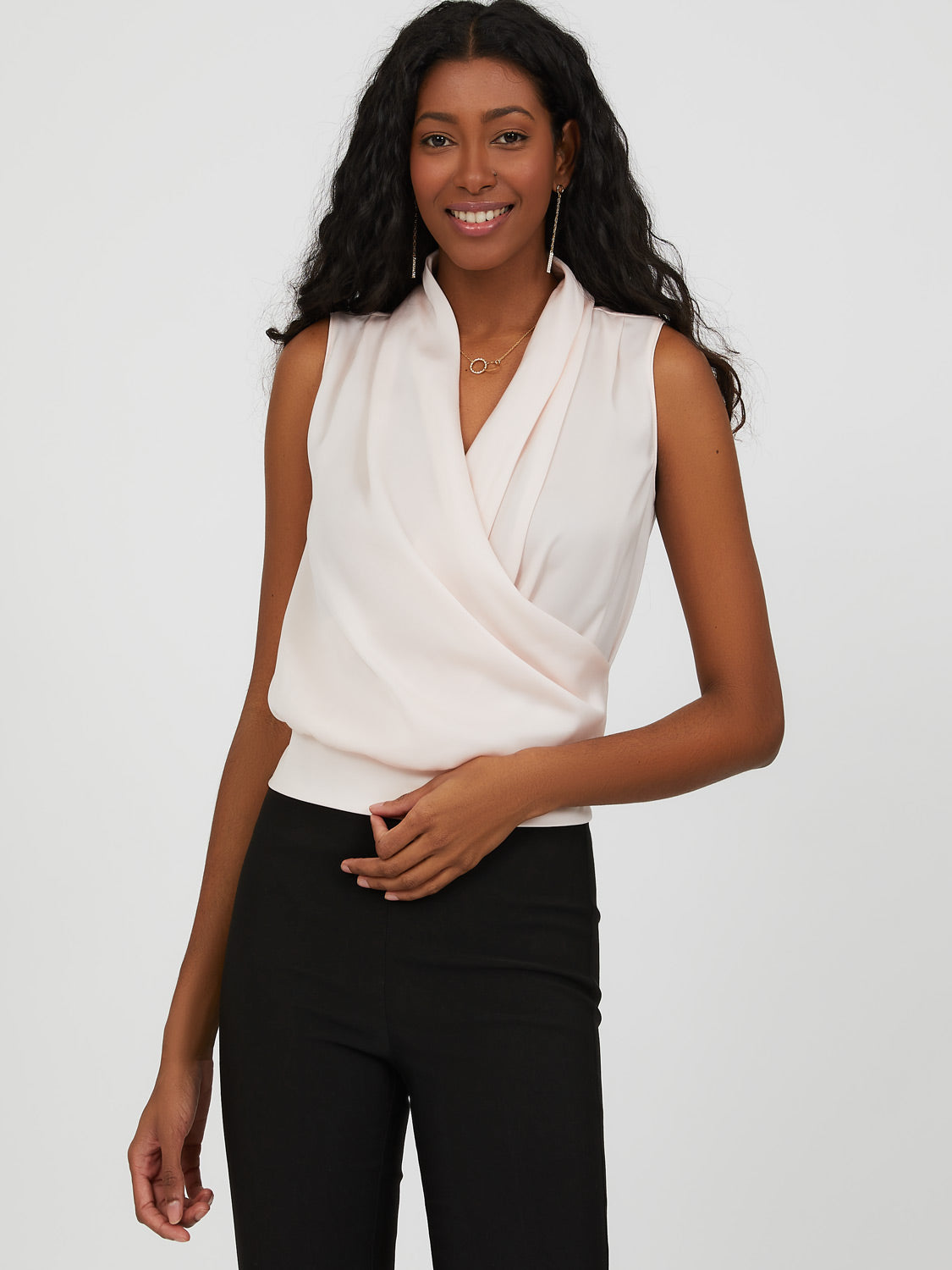 Sleeveless Crossover Satin Blouse