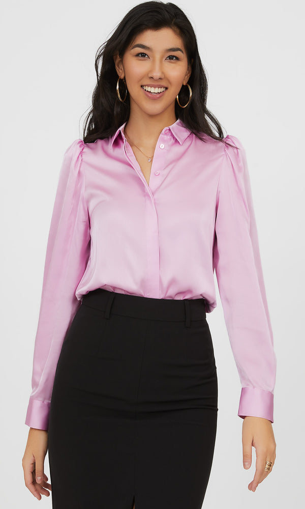 Puff Sleeve Satin Button-Down Blouse