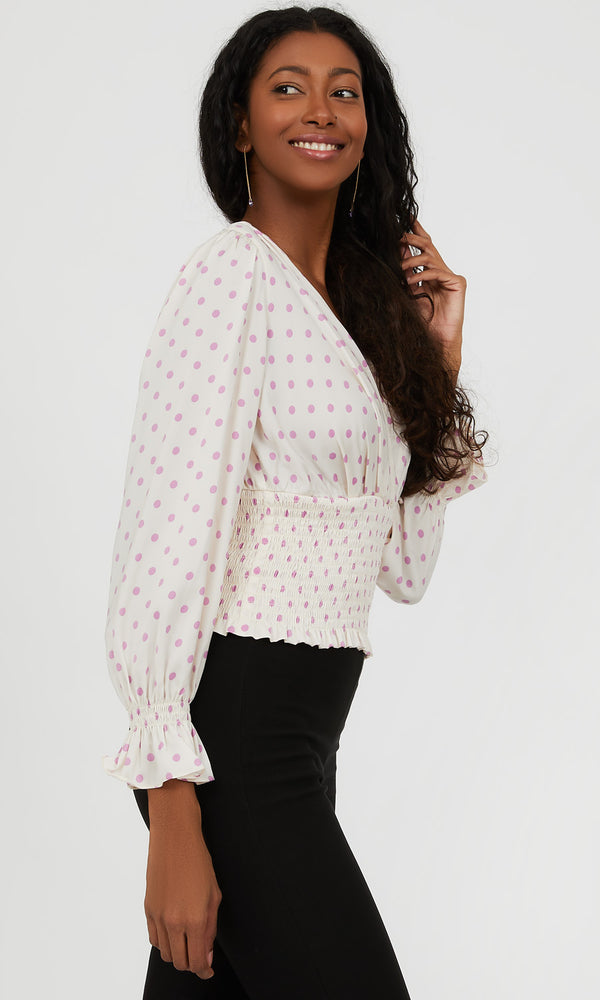 ¾ Puff Sleeve Polka Dot Crossover Blouse