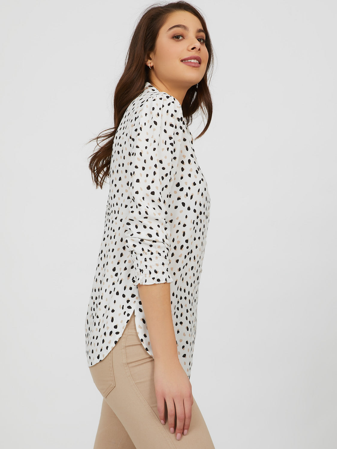 Button-Down Front Printed Blouse