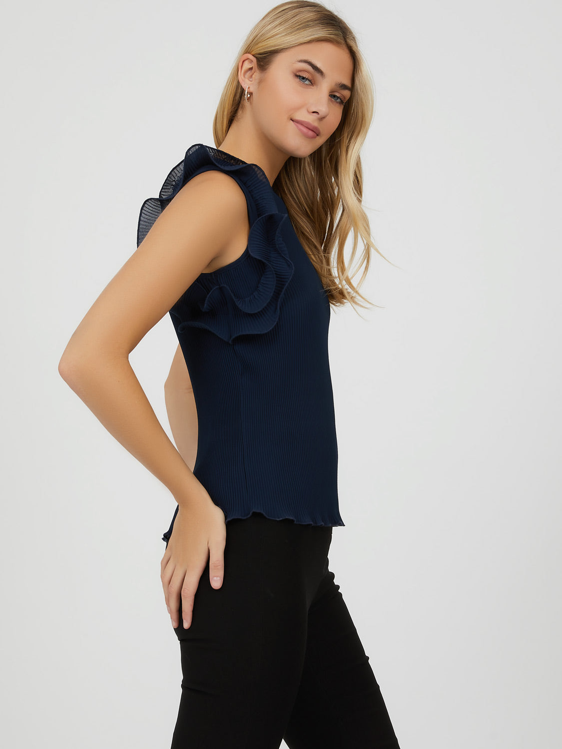 Ruffle Sleeve Pleated Blouse