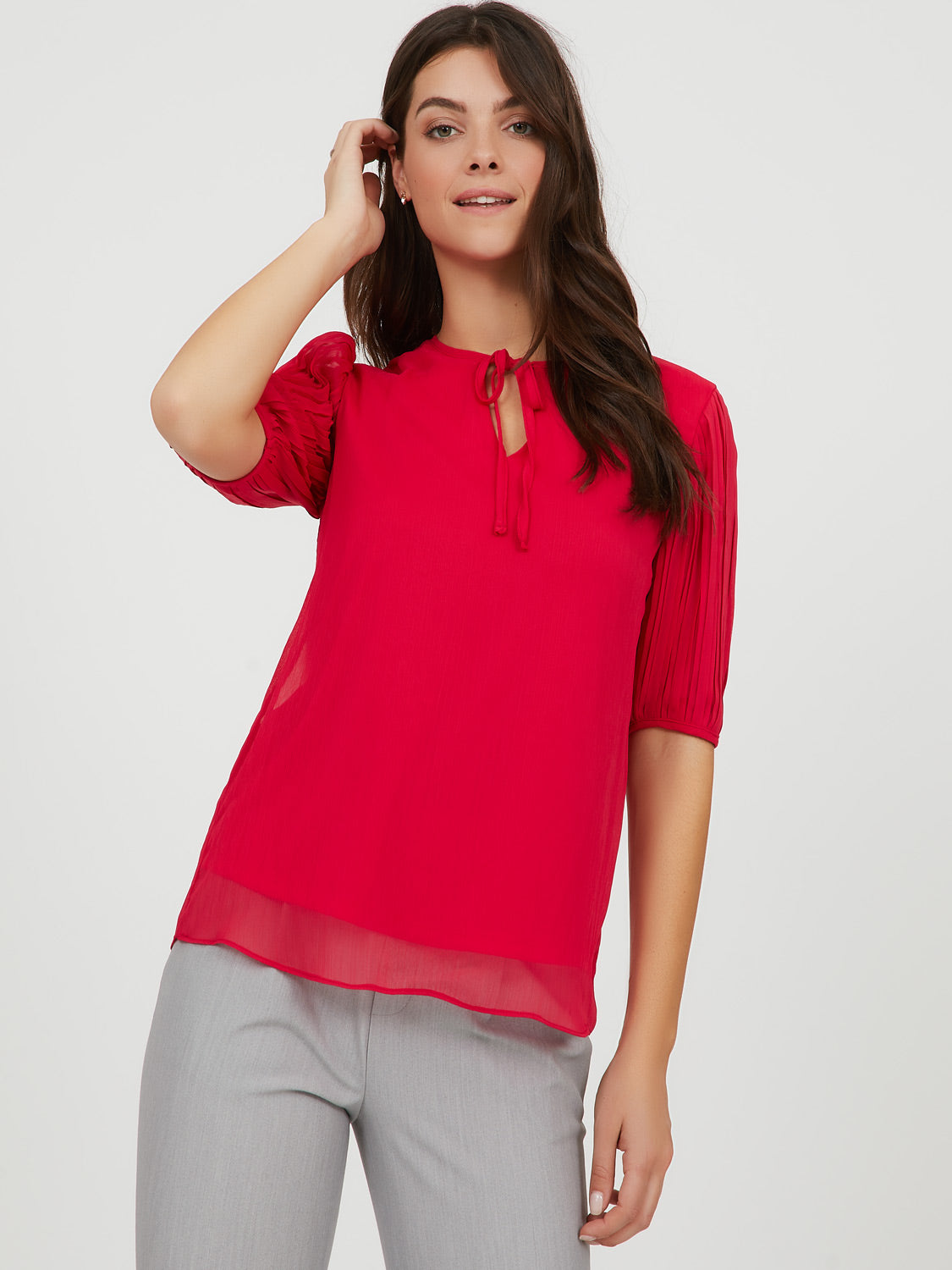 Pleated Sleeve Top
