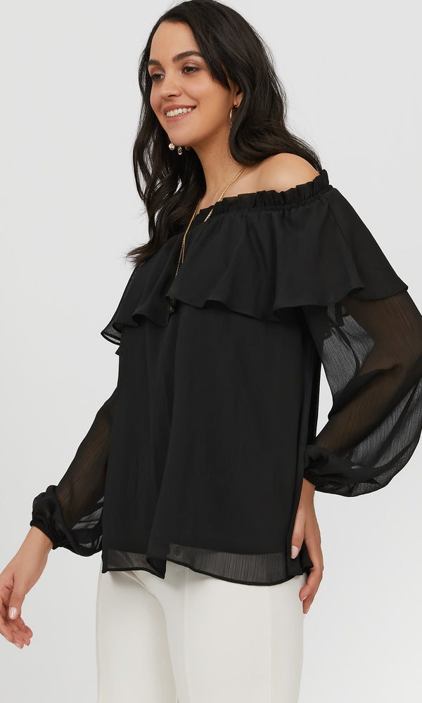 Ruffled Off-The-Shoulder Flounce Blouse
