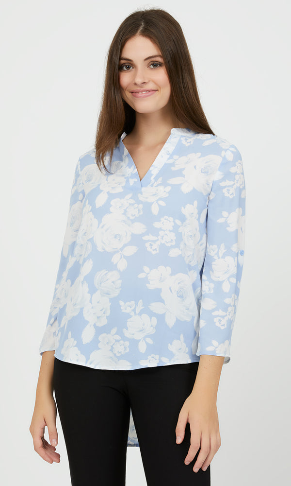 ¾ Sleeve Printed Chiffon Popover Blouse