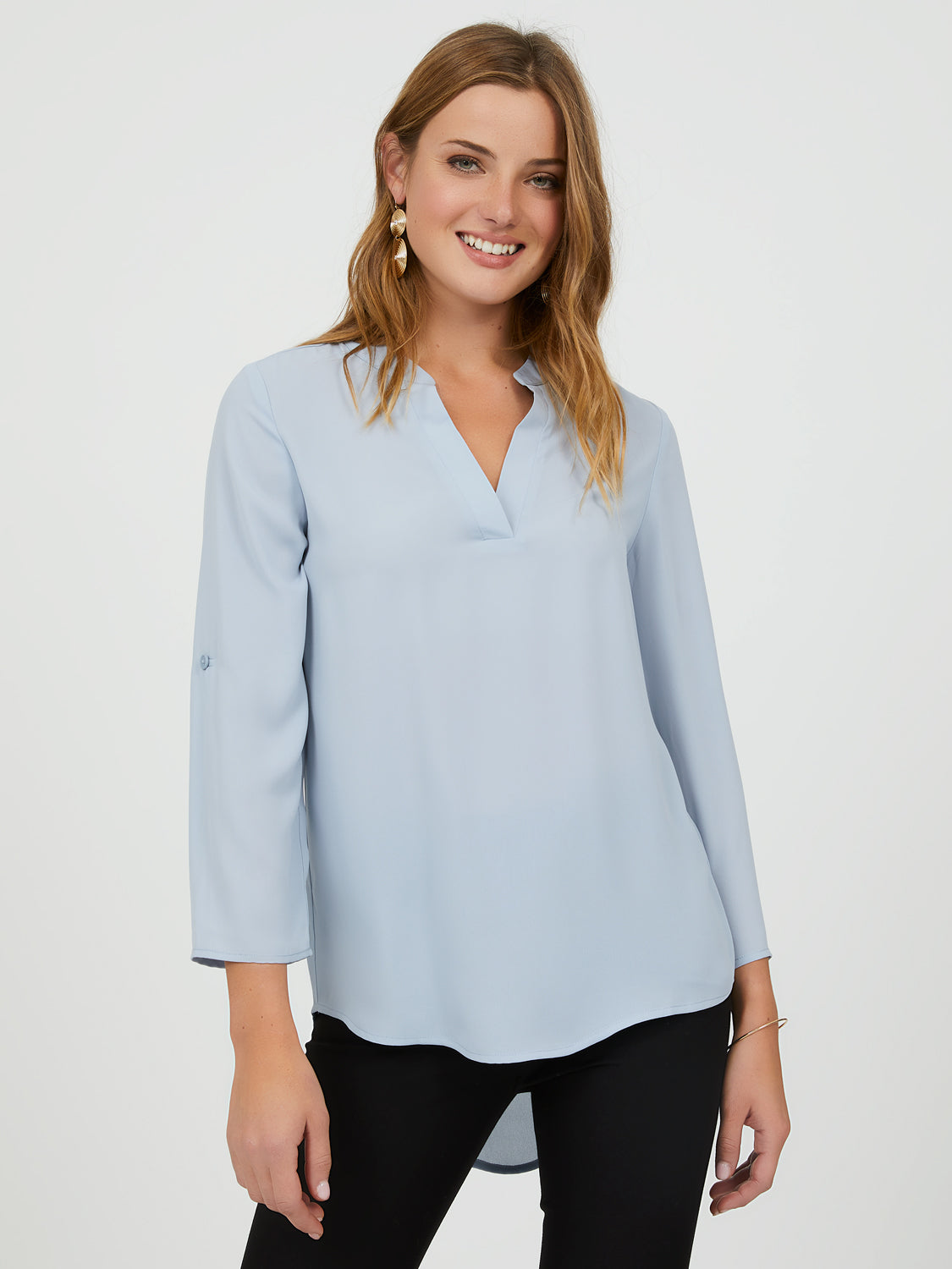 ¾ Sleeve Chiffon Popover Blouse