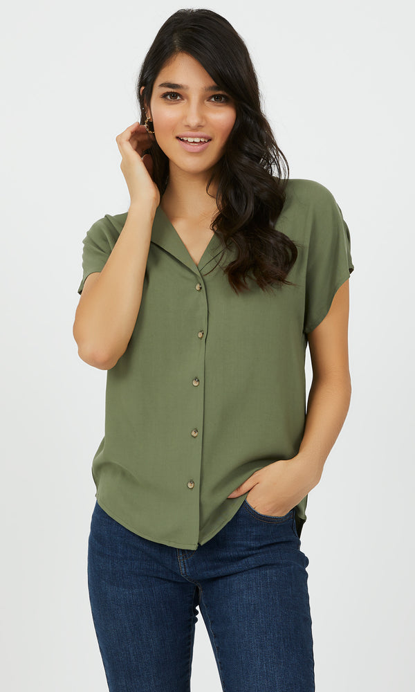 Button-Down Notch Collar Blouse