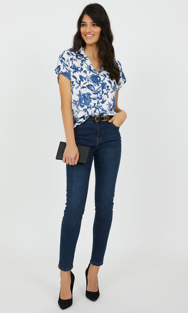 Button-Down Floral Notch Collar Blouse