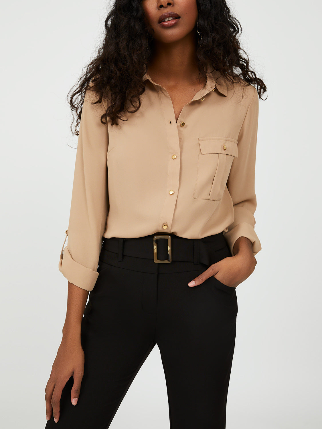 Roll-Up Sleeve Button-Down Blouse