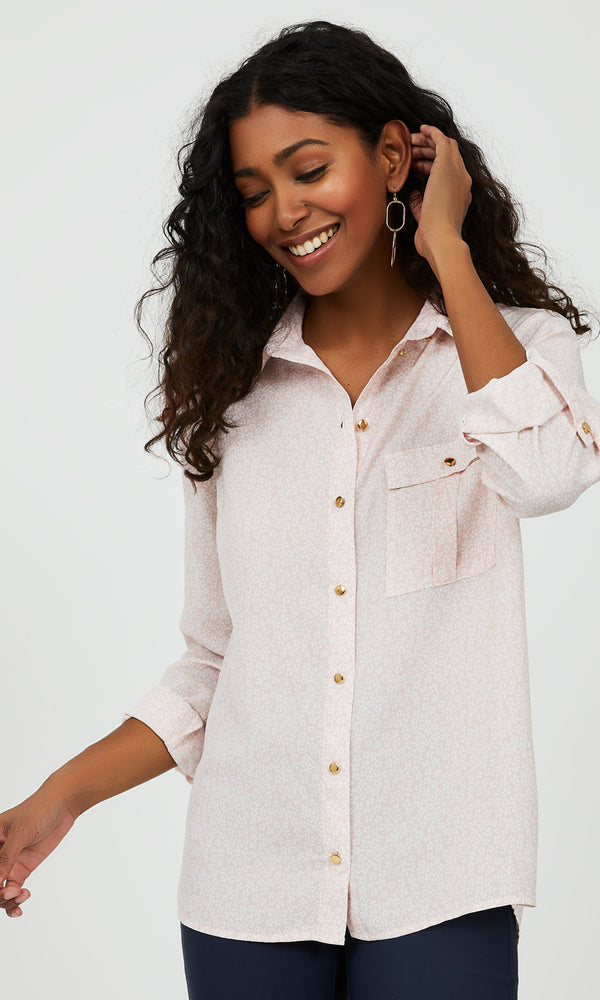 Printed Button-Down Blouse