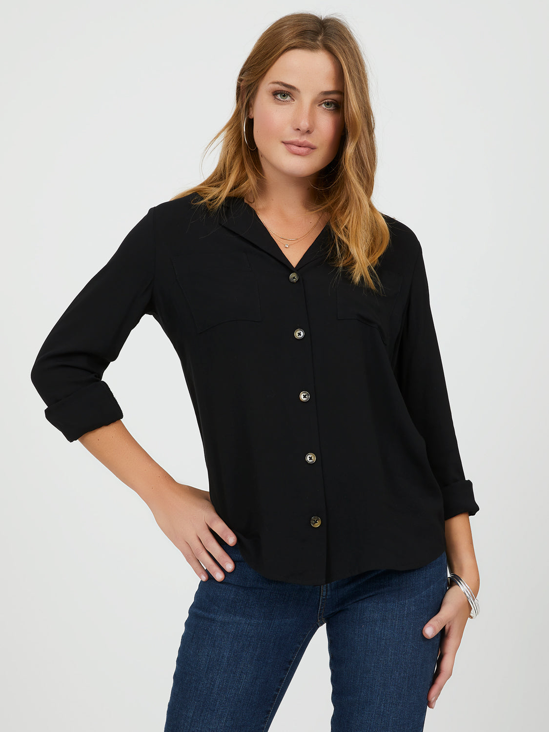 Notch Collar Button-Down Shirt
