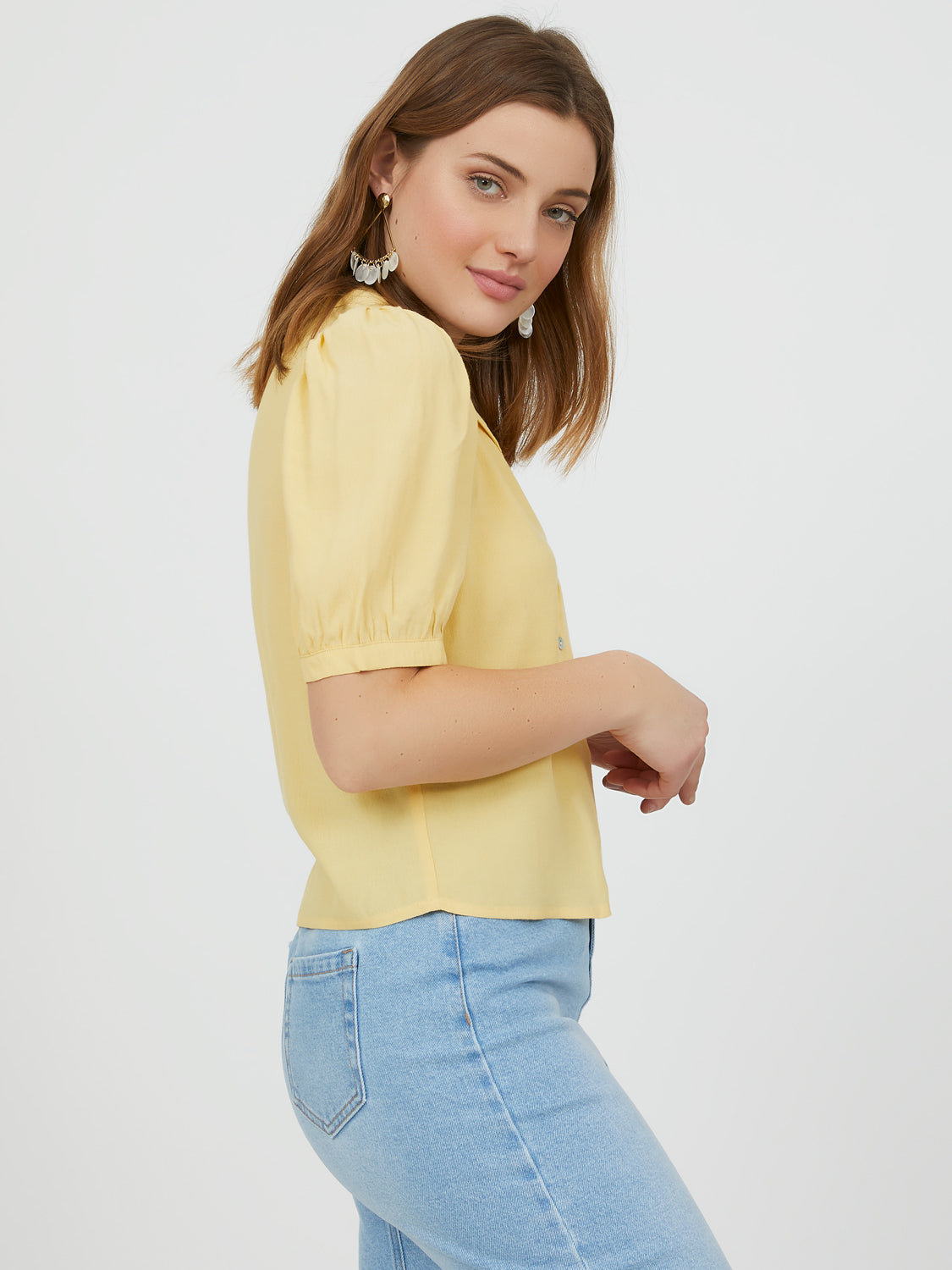 Elbow Sleeve Button-Down Blouse