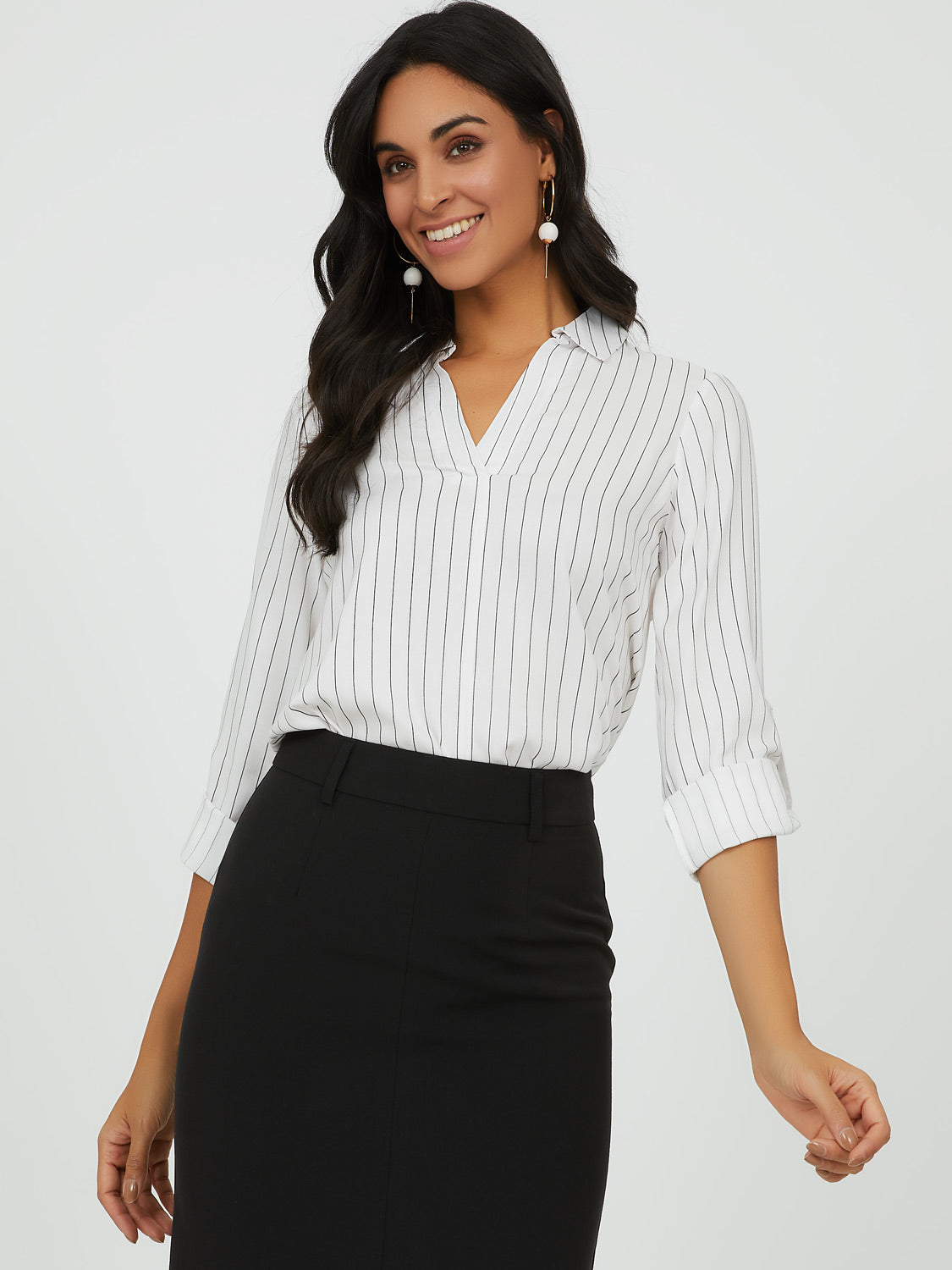 ¾ Rolled-Up Sleeve Stripe Top
