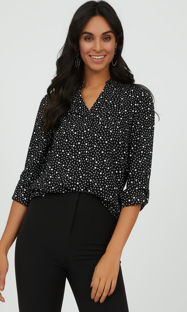 ¾ Rolled-Up Sleeve Dotted Blouse