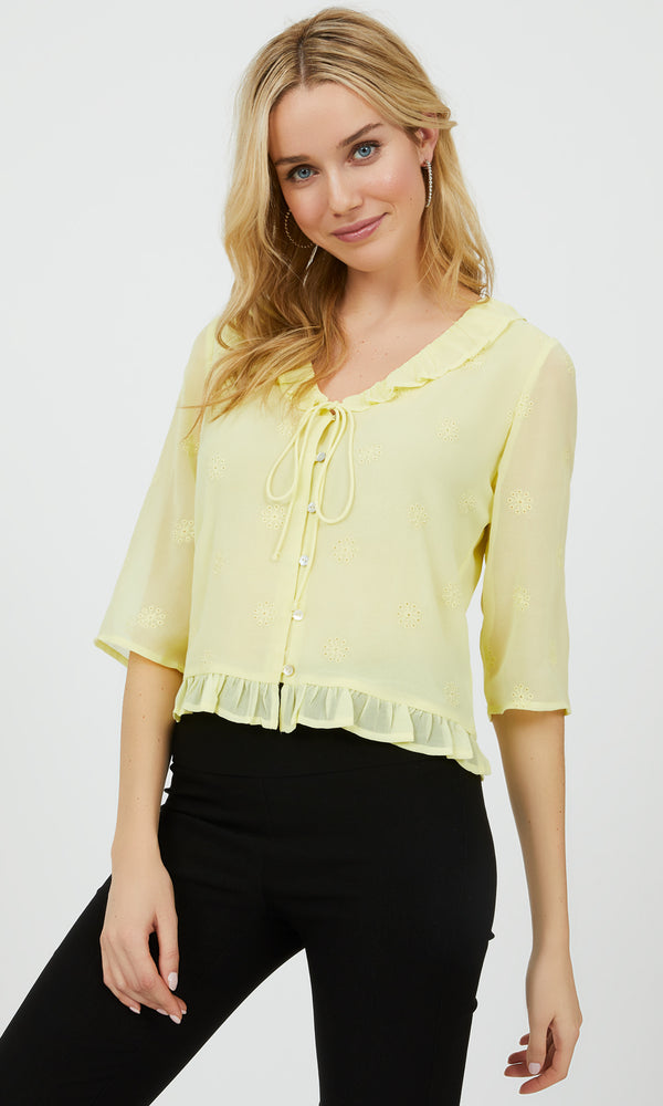 ¾ Sleeve Button-Down Ruffle Blouse