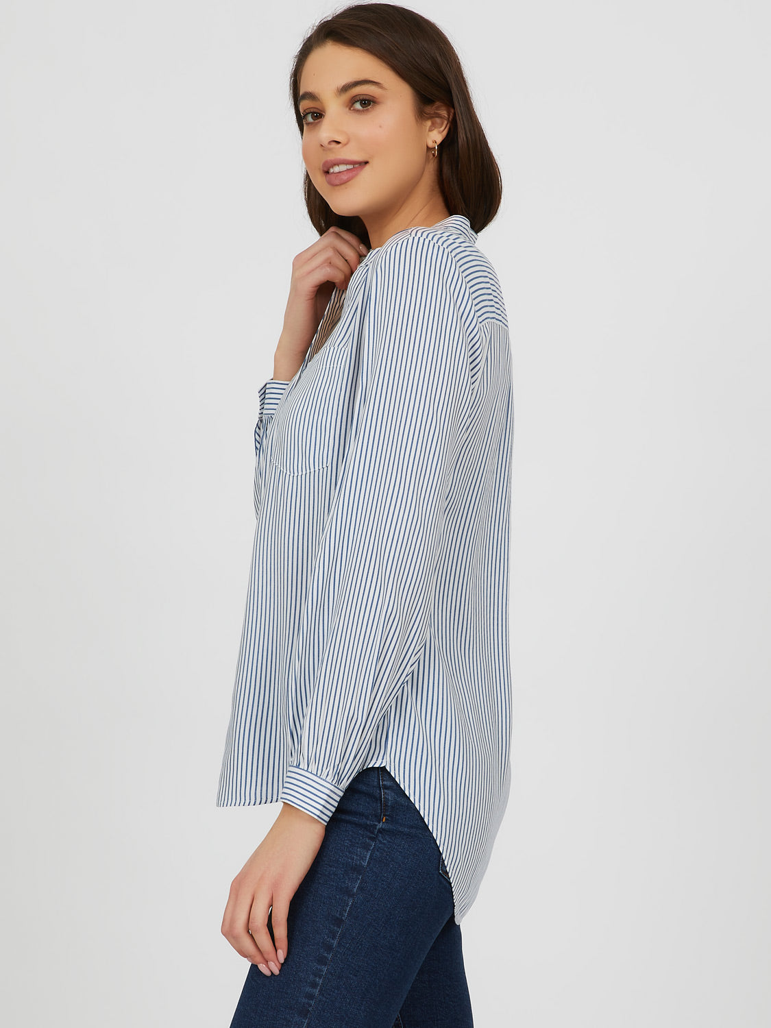 3-Button Front High-Low Striped Blouse