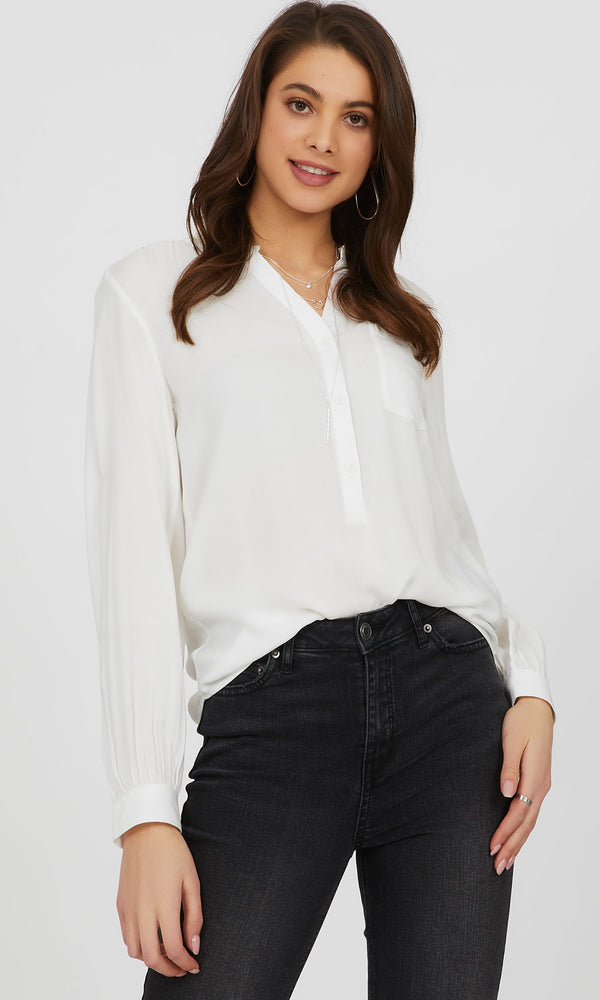 3-Button Front High-Low Blouse