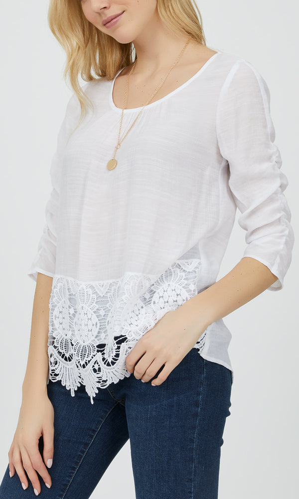 ¾ Sleeve Relaxed Fit Lace Top