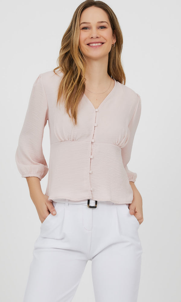 ¾ Sleeve Button-Down Blouse