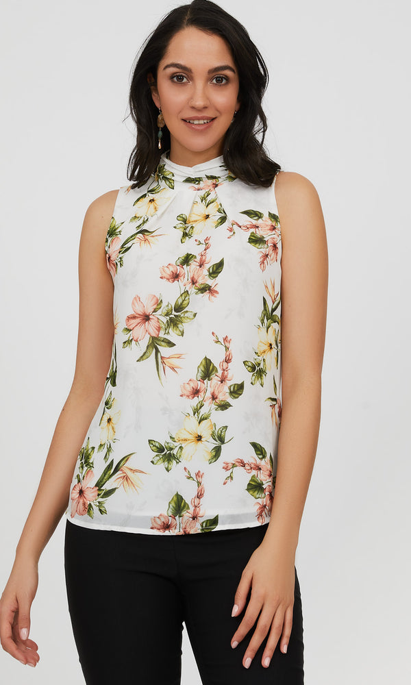 Sleeveless Pleated Mock Neck Floral Blouse