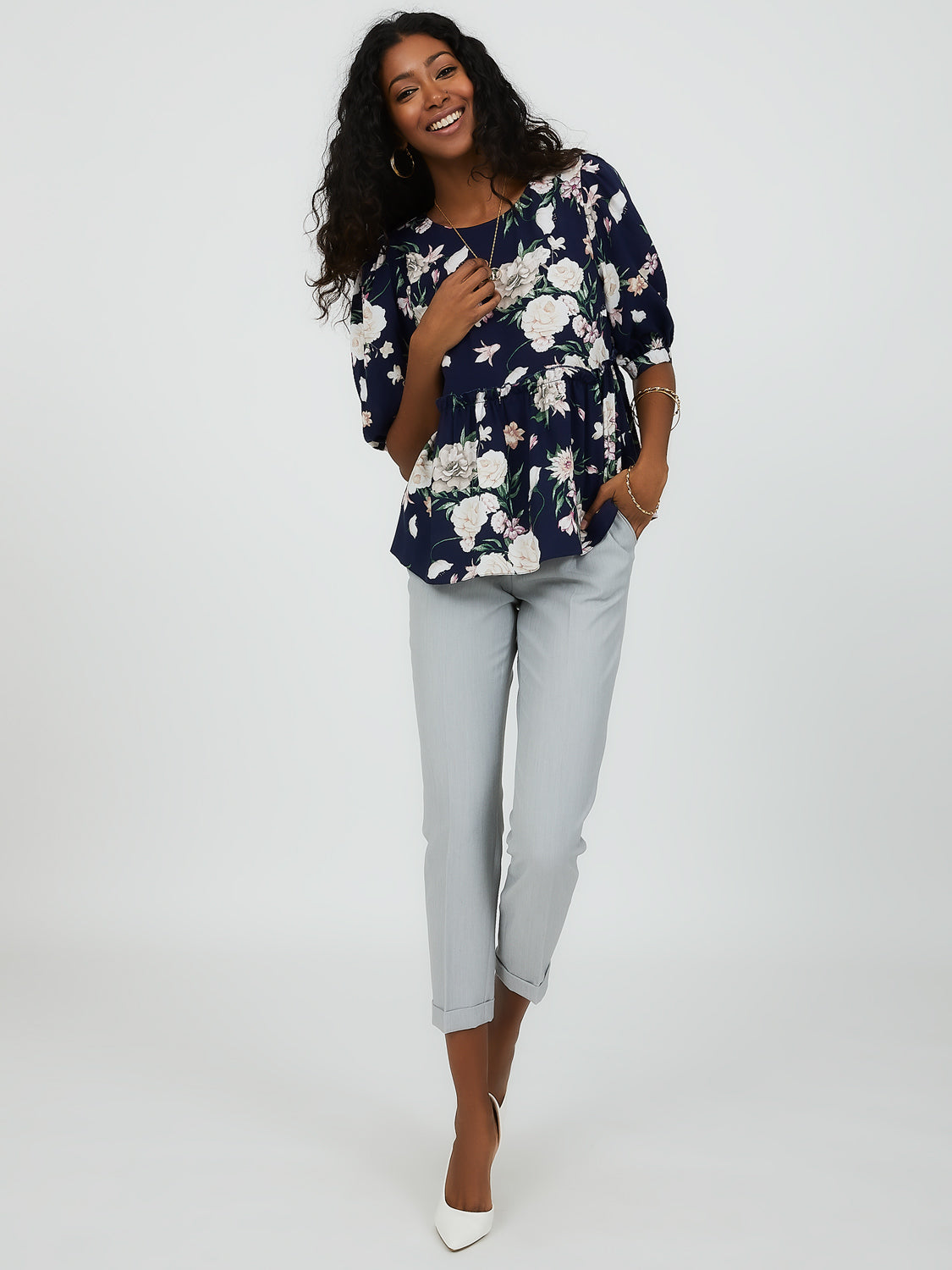 Puff Elbow Sleeve Floral Peplum Blouse