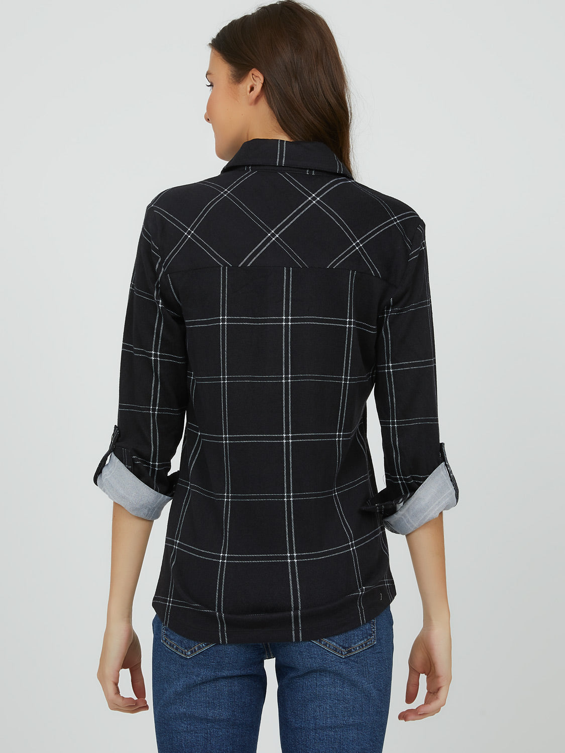 Rolled-Up Sleeve Plaid Blouse