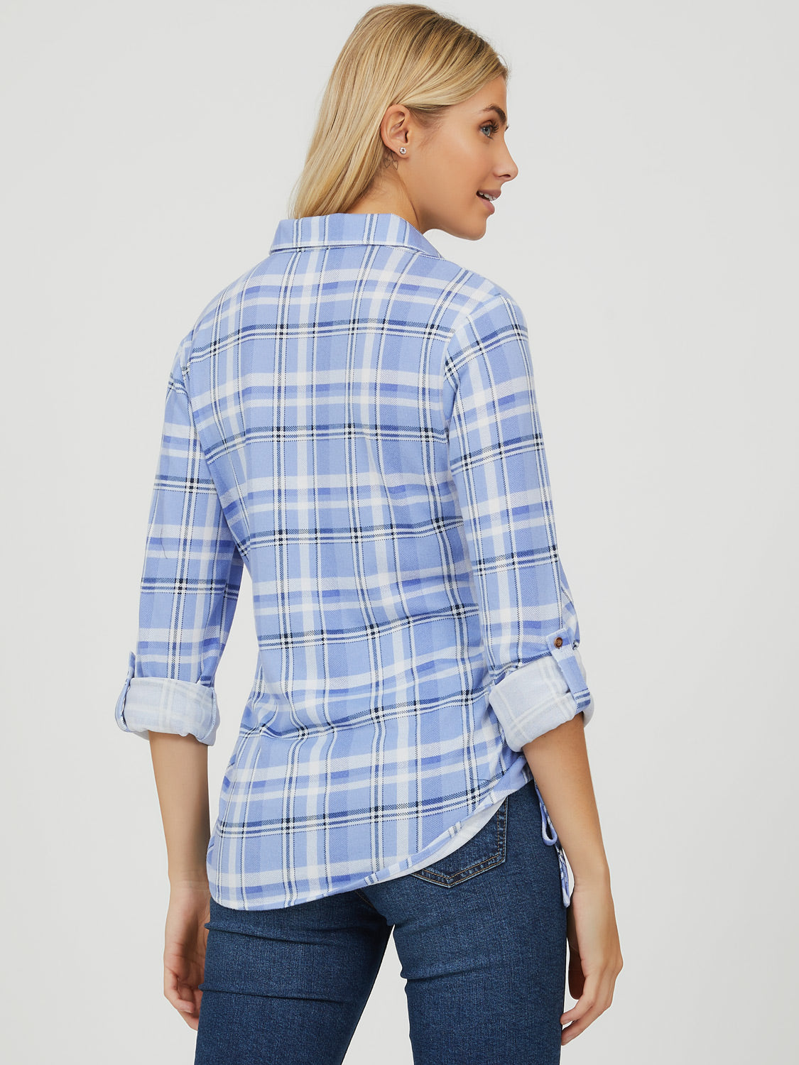 Rolled-Up Sleeve Button-Down Blouse