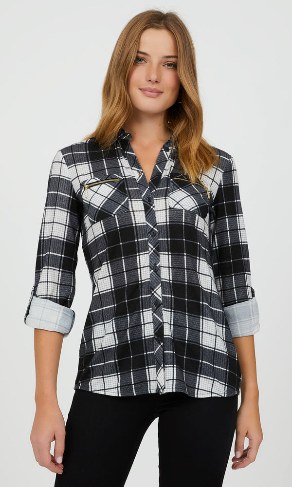 Roll-Up Button-Down Blouse
