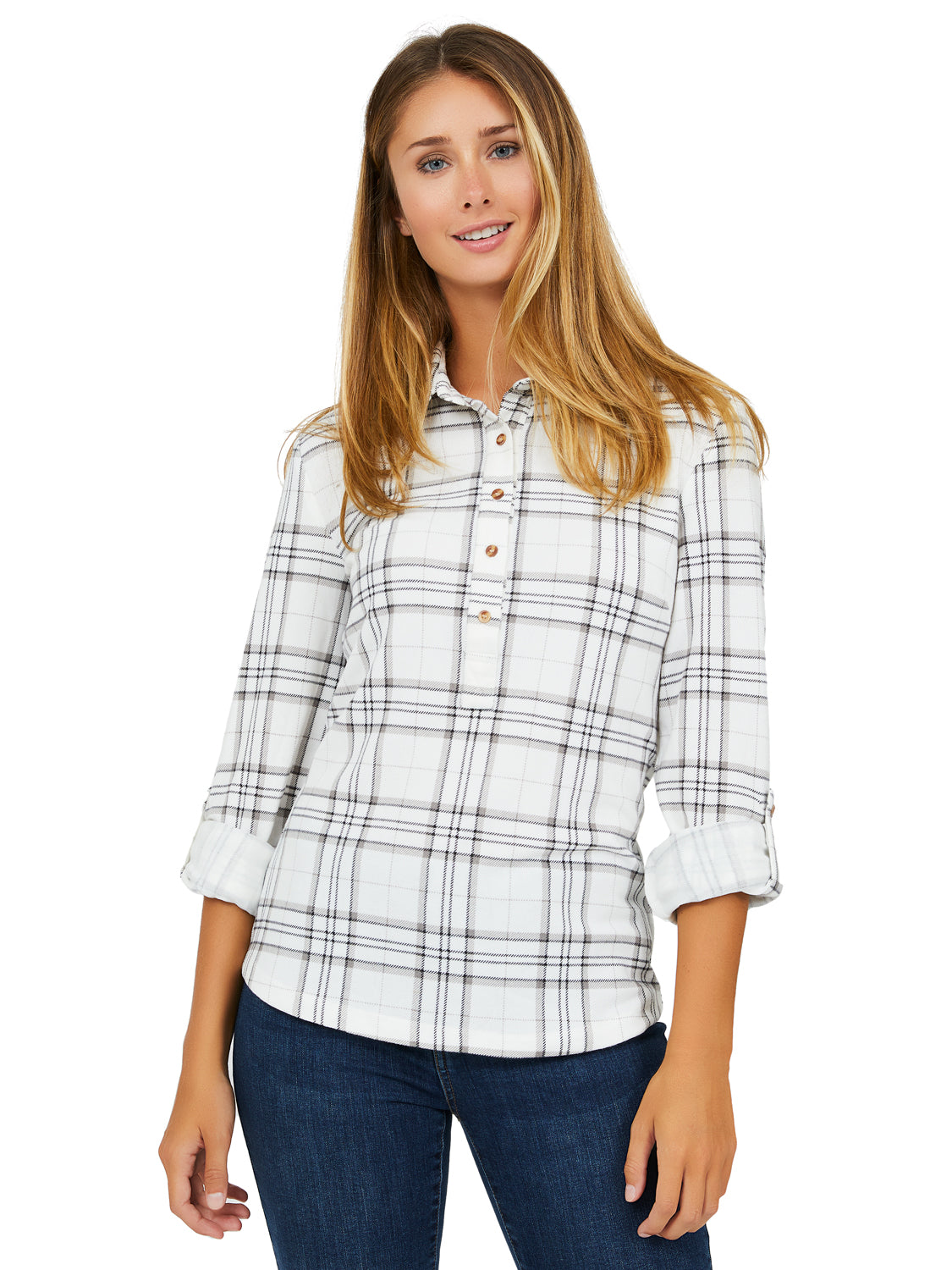 Popover Shirt Collar Plaid Blouse