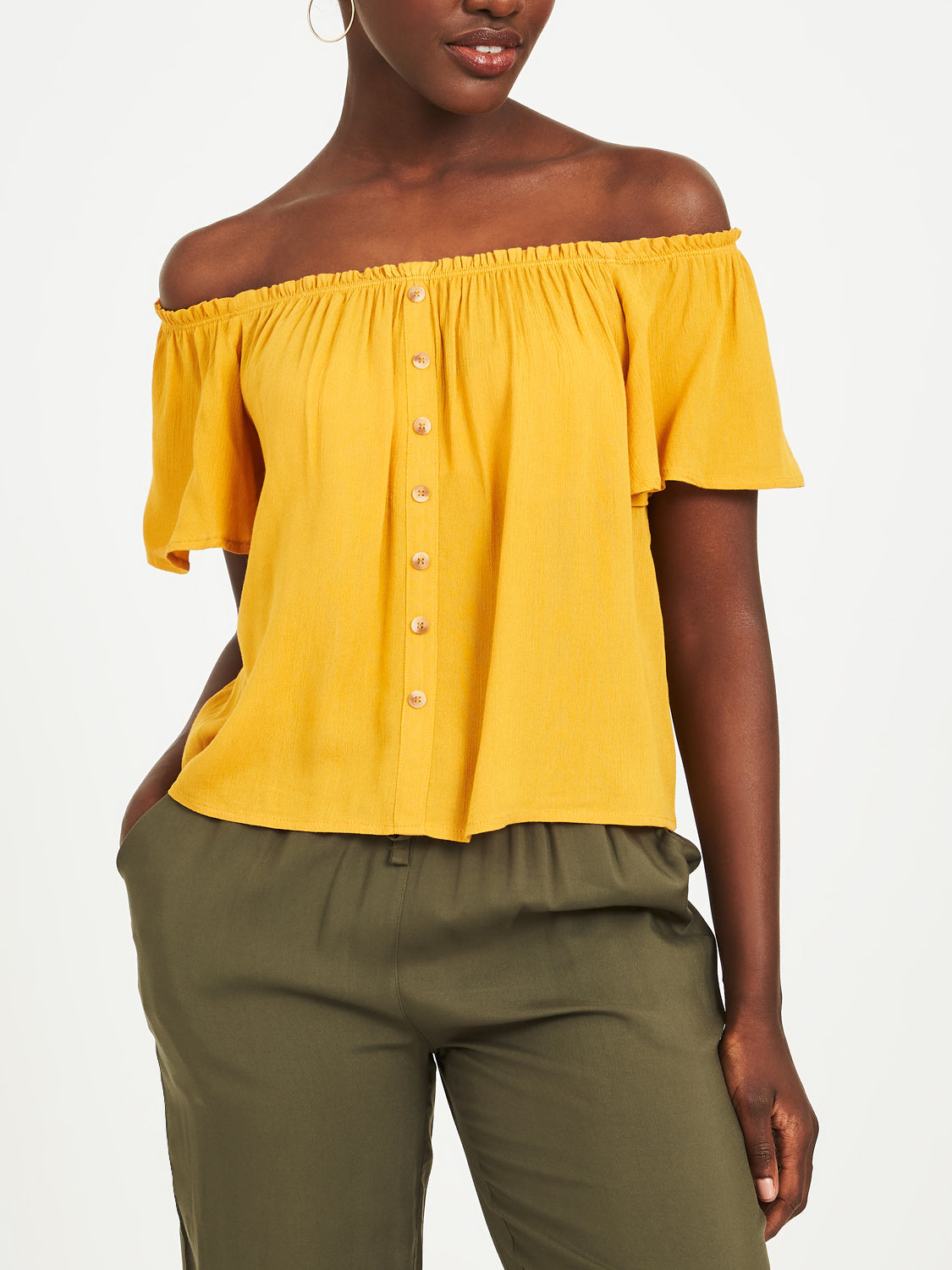 Off-The-Shoulder Woven Blouse