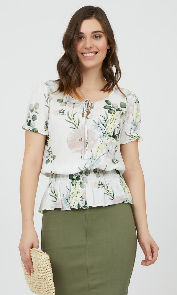 Floral Smocked Waist Top