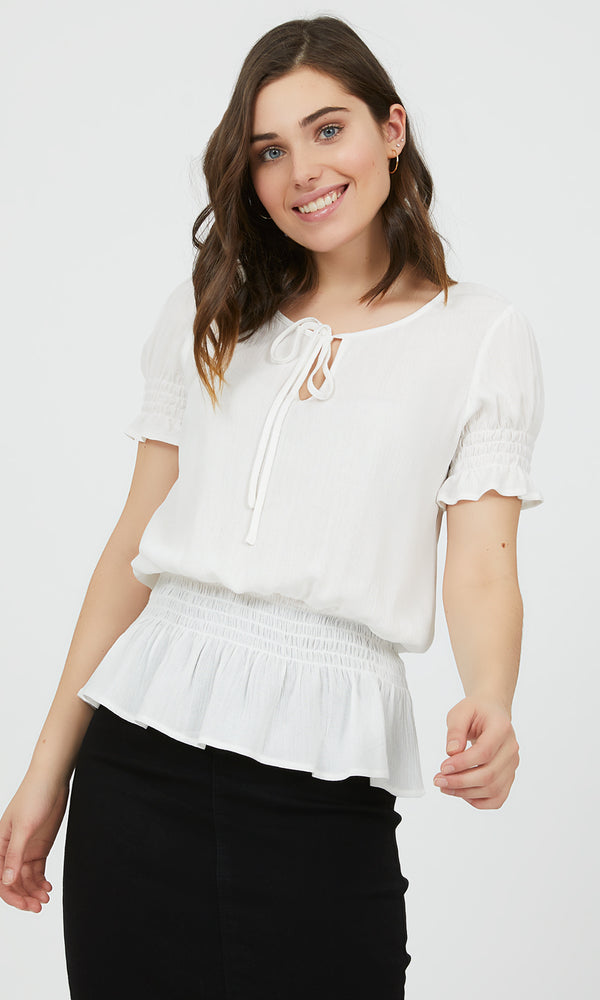 Short Sleeve Smocked Waist Top
