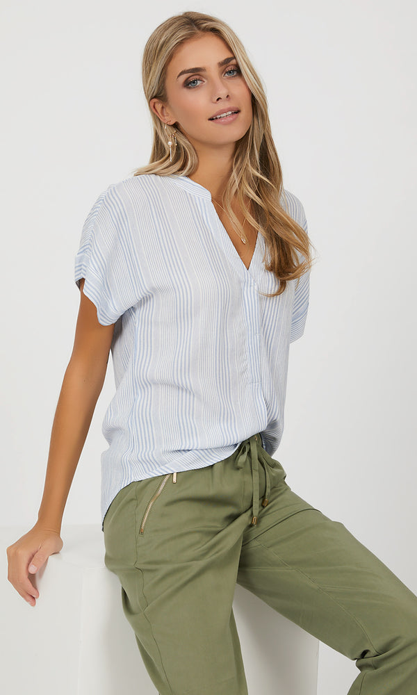 Short Dolman Sleeve Striped Top